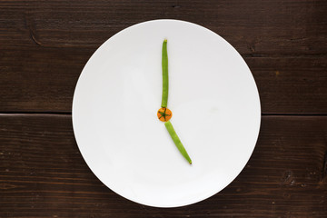 Clock made by vegetable
