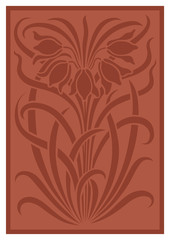 Silhouette of flowers ornament. Figure bouquet in the form of a stencil. Terracotta vector background