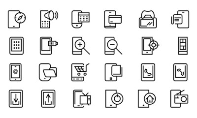 Mobile Vector Line Icons 4