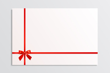 White blank card with a red bow and ribbons. Design element. Vec