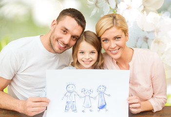 happy family with drawing or picture
