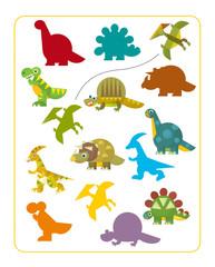 Cartoon dinosaurs - matching game - illustration
