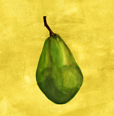 Green pear on a golden colored distressed artistic background