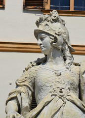 A close-up photo of a statue in front of Eggenderg castle in Graz, Austria