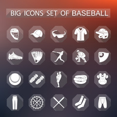 Set of vector icons of baseball
