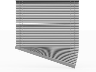 Silver blinds rendered on white