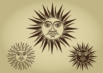 Vintage Retro Sun Illustration Set