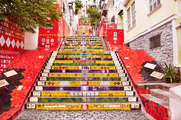 In de dag Rio de Janeiro Tiled steps in Lapa, Rio de Janeiro, Brazil