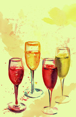 Set of glasses with rose and white sparkling wine, watercolour drawing