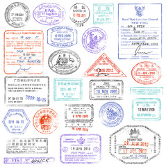 High Quality grunge Passport Stamp collection