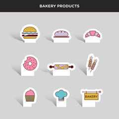Vector graphic icon sticker set of bakery goods