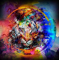 Абстрактная красочная иллюстрация тигра со всплесками краски