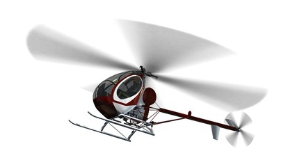 Light Helicopter in fly - isolated on white background