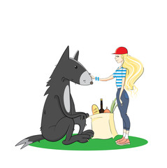 The Little Red Riding Hood meets a hungry wolf and suggests it to become the vegetarian.