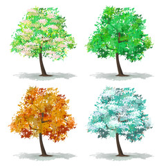 A set of abstract tree in four seasons Spring Summer Autumn Winter