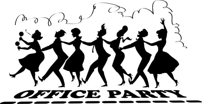 Black vector silhouette of group of people dressed in late 1950s fashion dancing conga line, no white objects, office party lettering at the bottom, streamer on top, EPS 8