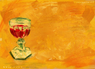 A watercolour drawing of a retro goblet with red wine