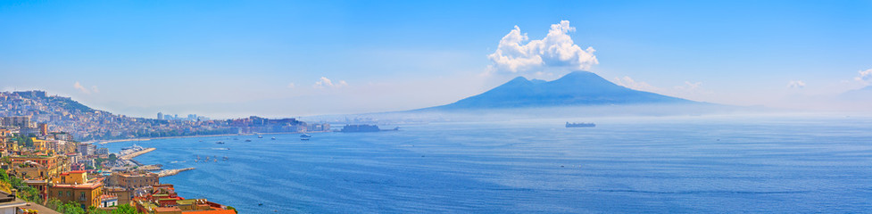 Deurstickers Napels Mount Vesuvius and Naples panorama