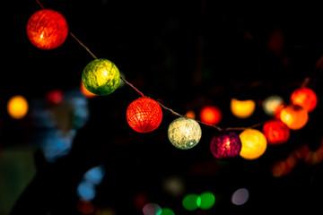 Multicolor lighting decor in New Year.