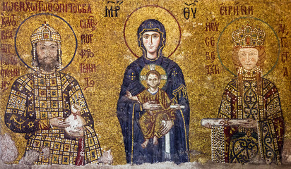 Christian Icon Virgin Mary and Saints in Hagia Sophia, Istanbul