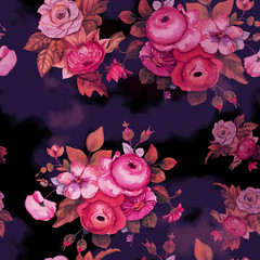 A vintage-styled watercolour bouquet of flowers, seamless pattern