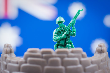 Toy soldier in front of Australian flag