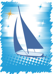 Blue yacht.Abstract sea motive.Blue background