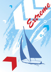 Abstract sea background.Blue yacht.Extreme sport