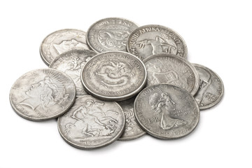 Heap of old silver coins