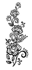 black-and-white flowers and leaves. Floral design element
