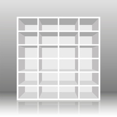 White empty rack or bookshelf with twenty four cubbyholes. Vector illustration on gray gradient background.