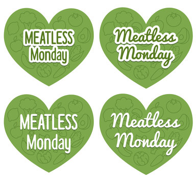 Meatless Monday heart shaped banners with subtle pattern of mixed fruits and vegetables. Two different styles and fonts.