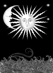 Decorative Sun and Moon Faces With Stylized Water