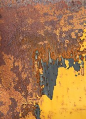 old rusty metal surface painted with yellow paint, texture, background