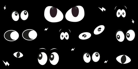 Glowing in the dark spooky eyes vector background