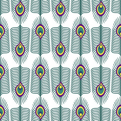 Seamless abstract pattern with peacock feather on white background. Decorative texture with peacock feathers. Cute peafowl feather background.