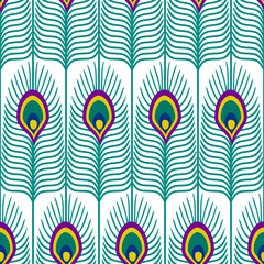 Seamless abstract pattern with peacock feather on white background. Close-up decorative texture with peacock feathers. Cute peafowl feather background.