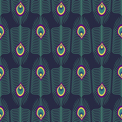 Seamless abstract pattern with peacock feather and bird fluff on dark blue background. Decorative texture with peacock feathers. Cute peafowl feather background.