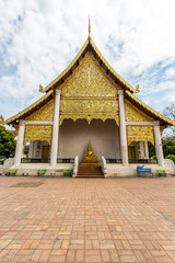 Buddhist Temple and monument with gold in chian mai
