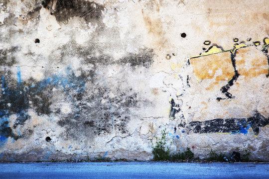 Urban Grunge - Colorful Wall Grafitti Background Texture.