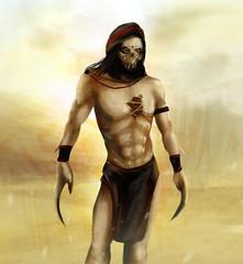 Fantasy arabian desert warrior with skull mask