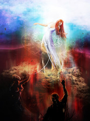 Goddess in white dress fighting with hell demons illustration.