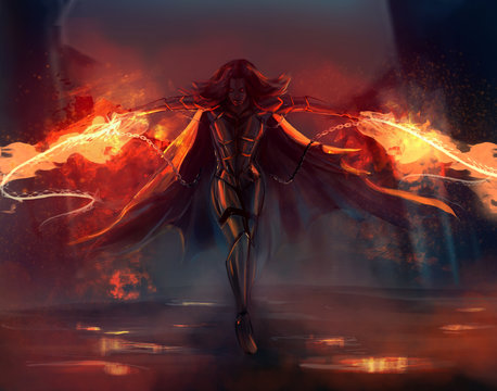 Fantasy warrior armored woman attack with fire chains action illustration.