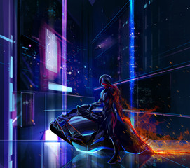 Sci-fi neon warrior on futuristic bike with metal armor standing on a futuristic background.
