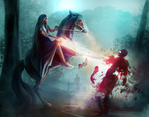 Fantasy horseman in a hood fighting zombies in dark woods with sorcery and magic.