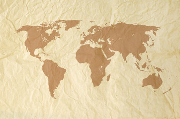 World map on Vintage yallow paper texture background