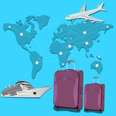 passenger, transport, trip, globe, luggage, vector