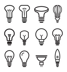 Light bulb set icons on white background.