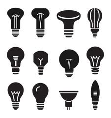 Light bulb set icons on white background