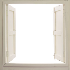 Opened wooden window on white background
